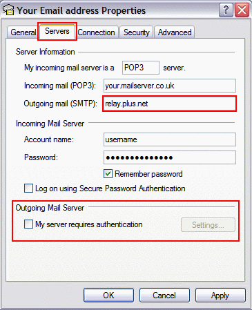 On the 'Servers' tab, update the 'Outgoing mail (SMTP)' and make sure 'My server requires authentication' is unticked.