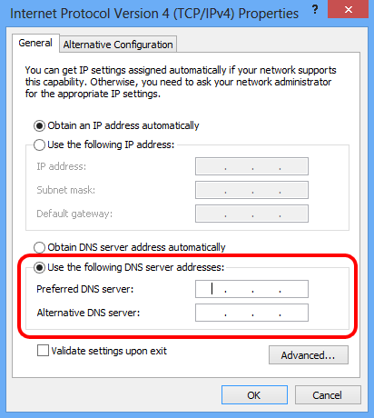 Windows 8 - Use the following DNS server addresses
